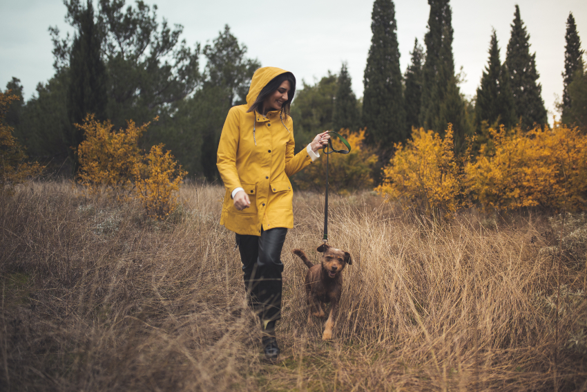 Frau geht Gassi mit Hund