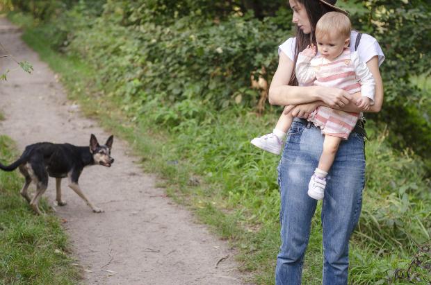 Mutter mit Kind auf dem Arm, in der Nähe ein aggressiver Hund
