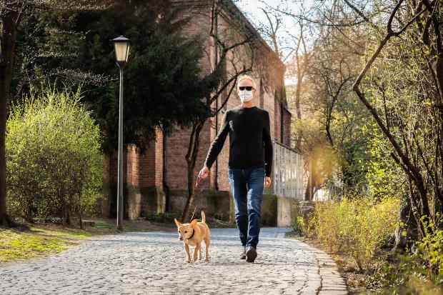 Mann mit Mundschutz geht mit Hund Gassi - Corona und Hund
