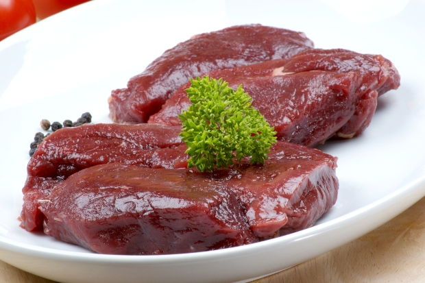 Rohes Straußenfleisch, Nahaufnahme