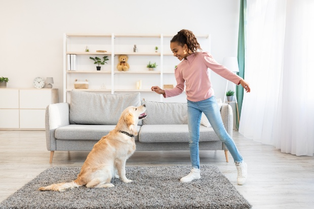 Mädchen gibt Hund einen Snack